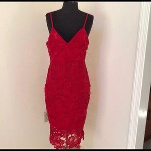 Red lace midi dress ❤️